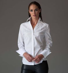 A classic white business shirt for women. The Madelena classic white shirt by The Shirt Company great for the office, business and day work wear. Collar Blouse, Collar Shirts, Shirt Blouses, Women's Shirts, Work Shirts, Black Leather Pencil Skirt, Black Leather Leggings, Plain White Shirt, Classic White Shirt