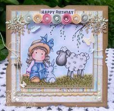 Magnolia Tilda Handmade Card - Tilda With Sheep