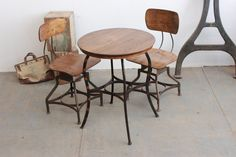 Vintage Antique Industrial Toledo Uhl Cafe/ Soda Fountain Table with Japanned Legs: 1900 - 1910s