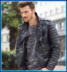 New Men's Genuine Lambskin Leather Jacket Black Slim fit Biker Motorcycle jacket #WesternOutfit #Motorcycle