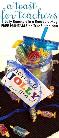 A Jolly Toast; Back To School Teacher Gift & Free Printable. A Sweet & simple gift. Free Printable on http://TrishSutton.com.
