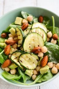 What a gorgeous salad! zucchini, baby spinach, avocado, chickpeas, soaked almonds, tahini, lemon and garlic. Would be good for #fastmetabolismdiet Phase Three