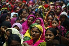 In Dhaka, members of the Bangladesh National Garments Workers Employees League gather to demand compensation and service benefits ahead of garment-factory closures. Recently, about 30 garment factories have closed without compensating employees.  Zakir Hossain Chowdhury/NurPhoto/Zuma Press