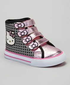 Take a look at this Black & Pink Metallic Hello Kitty Hi-Top Sneaker by Hello Kitty on #zulily today!