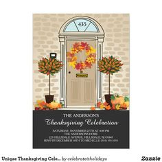 Unique Thanksgiving Celebration Dinner Party Invitation Cute dinner dinner open house invitation featuring a tan front door with a fall leave autumn wreath set on a tan brick background embellished with two orange leaf topiary trees. Easy to personalize with your thanksgiving open house information. Don't forget to customize with YOUR HOUSE NUMBER on the half round window! ❤  Affiliate ad link. Christmas greeting / holiday invitation / custom invites & products #christmas #holiday…
