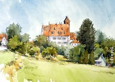 Gablingen Watercolor Canvas, Watercolor Landscape, Watercolour Painting, Art Sketches, Art Drawings, Study Table Designs, Canvas Paper, Urban Sketchers, Various Artists