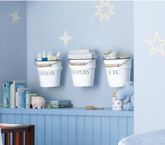 Nursery Storage Ideas: Make Your Own Baby Room Storage Buckets (Pottery Barn Kids) Baby Room Shelves, Baby Room Storage, Nursery Storage, Nursery Organization, Baby Boy Rooms, Baby Boy Nurseries, Babies Rooms, Storage Buckets, Ideas Para Organizar