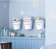 Nursery Storage Ideas: Make Your Own Baby Room Storage Buckets #nursery #organization #storage #potterybarnkids