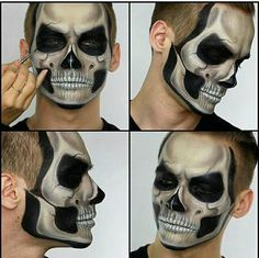 Do you need a Halloween costume, without the costume? These 10 absolutely amazing Halloween Skull Ma Halloween Skull Makeup, Soirée Halloween, Amazing Halloween Makeup, Sugar Skull Makeup, Clown Makeup, Makeup Art, Man Skull Makeup, Halloween Costumes, Zombie Makeup