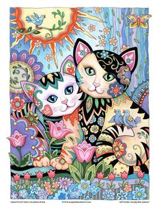 Best Friends – Art and coloring ©Marjorie SarnatCreative Haven ~ Creative Kittens ~ Marjorie Sarnat Design & Illustration Illustrator of best selling adult coloring books Creative Cats, Owls, and many more. Cat Embroidery, Wal Art, Illustration Art, Illustrations, Cat Colors, Arte Pop, Cat Drawing, Whimsical Art, Crazy Cats