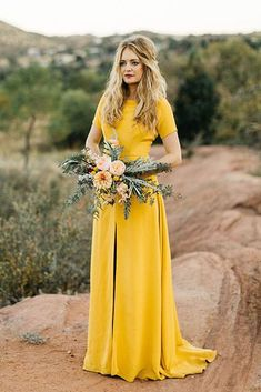 Sarah Seven Yellow Wedding Dress for a fall weddingYou can find Yellow weddings and more on our website.Sarah Seven Yellow Wedding Dress for a fall wedding Yellow Bridesmaid Dresses, Colored Wedding Dresses, Green Wedding Shoes, Wedding Yellow, Mustard Yellow Wedding, Bridesmaid Gowns, Short Sleeve Bridesmaid Dresses, Marigold Wedding, Yellow Weddings