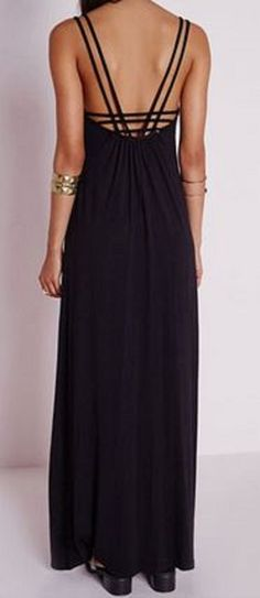 Sleeveless Backless Solid Color Women's Maxi Dress