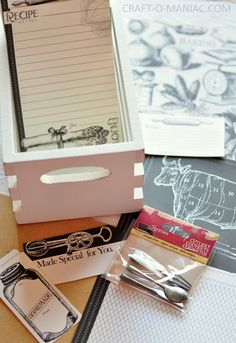 recipe box items - 7gypsies vintage photo crate, cutlery, canvas corp Farmhouse Tags, Printed File Folders, Papers #farmhouse #DIYkitchencrafts #recipecrate #foodiegifts