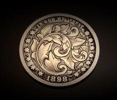 Hand Engraved Silver Quarter 1898 Love Token by JelliesJewelry