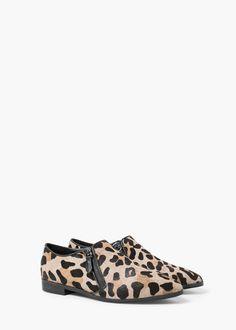 Zip leather shoes   MANGO