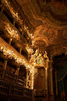 "clara–lux: ""GALLI BIBIENA, Giuseppe (architecture) Interior of the Margravial Opera House Bayreuth, Germany Ed. by Pierre Schoberth) Lic. Architecture Baroque, Beautiful Architecture, Beautiful Buildings, Architecture Design, Beautiful Places, Ancient Architecture, Gold Aesthetic, Belle Aesthetic, Aesthetic Pictures"