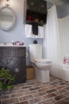 Brick flooring bathroom