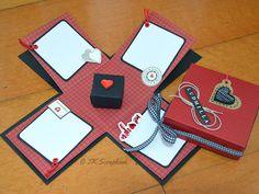 Caixa explosion box (visão geral da caixa aberta, abas internas para decorar e a mini-caixa)