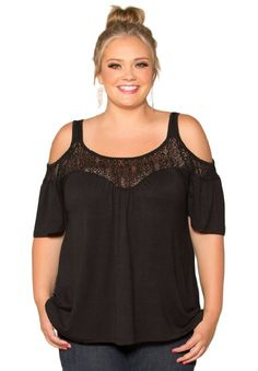 Amazon.com: Sealed With A Kiss Designs Plus Size Stacy Cold Shoulder Top: Clothing