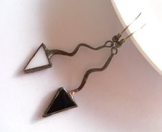 Stained glass earrings black white stained glass door ArtemisFantasy