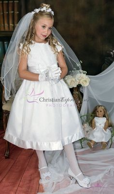 This tea length first communion dress features embroidered tulle with sequins bodice, fully lined organza skirt, satin bow with rhinestone accent. Our Communion Dress Styles are modern and stylish. Shop Unique First Holy Communion Dresses Girls First Communion Dresses, Holy Communion Dresses, First Holy Communion, Girls Dresses, Flower Girl Dresses, Toddler Dress, Kids Fashion, Fashion Dresses, Size 12