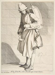 Drinks Vendor, Anne Claude de Tubieres, after Edme Bouchardon, etching with some engraving, 1737.