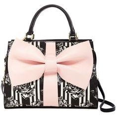 Betsey Johnson Curtsy Satchel (800.900 IDR) ❤ liked on Polyvore featuring bags, handbags, blush, handbag satchel, chain strap purse, bow purse, pink purse and chain handle handbags