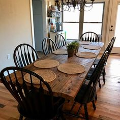 Reclaimed Farmhouse Table with Grey Stain Primitive Dining Rooms, Farmhouse Dining Room Table, Dining Table Redo, Timber Dining Table, Antique Dining Tables, Barrel Table, Boho Living Room, Table And Chairs, Club Chairs