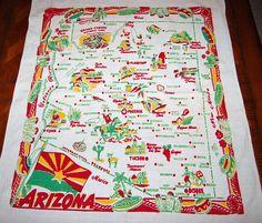 1940's Arizona souvenir tablecloth