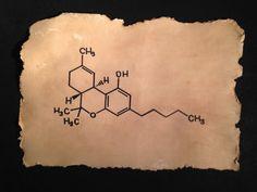 THC Molecule Tetrahydrocannabinol  Marajuana  by RecreatingThePast, $16.80