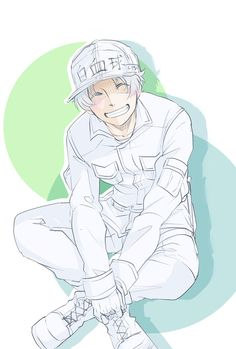 _ Cells at work _ White blood cell B Cell, Anime City, Fanart, White Blood Cells, Anime Characters, Fictional Characters, Me Me Me Anime, All Art, Manga Anime