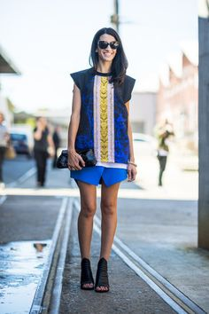 This blue and gold combo is bright and fun! #streetstyle