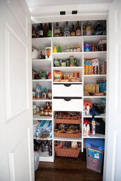 pantry with drawers and bins