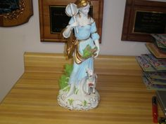 "Vintage Andrea by Sadek Very Large 15 1/2"" Victorian Lady with Lamb Figurine"