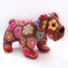Max the African Flower Bulldog crochet pattern by heidibears on Etsy https://www.etsy.com/listing/205409480/max-the-african-flower-bulldog-crochet