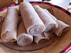 This recipe approximates the true injera, which is made from a fermented sourdough batter. Most recipes don't call for the lemon juice, but I find it necessary to supply the essential sour flavor that real injera adds to a meal. Ethiopian Bread, Ethiopian Injera, Ethiopian Cuisine, Ethiopian Restaurant, Ethiopian Recipes, Quick Recipes, Other Recipes, Bread Recipes, Vegan Recipes
