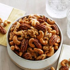 Hidden Valley Candied Nuts Recipe Lunch and Snacks with mixed nuts, large egg whites, dark brown sugar, maple syrup, Hidden Valley® Original Ranch Salad® Dressing & Seasoning Mix Hidden Valley Recipes, Nut Recipes, Wing Recipes, Candy Recipes, Ranch Recipe, Roasted Pecans, Candied Pecans, Mixed Nuts, Quick Snacks