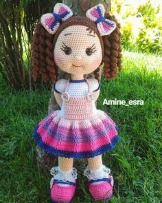 Gorgeous Amigurumi Dolls Love this sweet travelling doll crochet amigurumi pattern!As you know, I love amigurumi! And I'm so impressed by the lovely amigurumi doll patterns that are a Yazıyı Oku… Make your child your own toy … my the is Doll Dress Crochet Dolls Free Patterns, Crochet Doll Pattern, Doll Patterns, Crochet Doll Clothes, Knitted Dolls, Crochet Patterns Amigurumi, Amigurumi Doll, Crochet Crafts, Crochet Projects