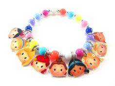 Tsum Tsum Princess Charm Bracelet, Tsum Tsum Princess Jewelry, Princess Birthday, Princess Party Favors, Princess Necklace by ChildishAntics on Etsy https://www.etsy.com/listing/286196751/tsum-tsum-princess-charm-bracelet-tsum