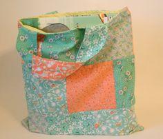 Aqua and peach book tote bag