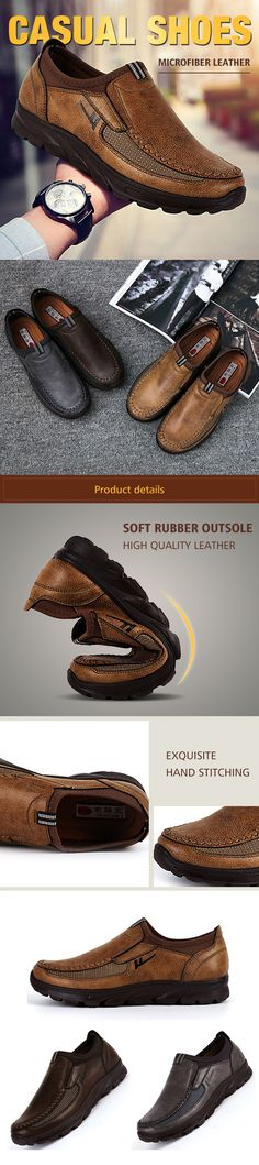 345556f2350ce US 31.53 Men Large Size Hand Stitching Microfiber Leather Non-slip Casual  Shoes winter