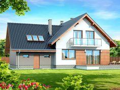 DOM.PL™ - Projekt domu DN NOELIA BIS 2M (garaż dwustanowiskowy) CE - DOM PC1-50 - gotowy koszt budowy Dream House Plans, Home Fashion, Techno, New Homes, Cabin, House Styles, Home Decor, Houses, Dinner