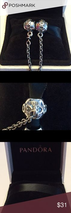 Authentic Pandora Love Connection Safety Chain. Sterling Silver, Hallmark Stamp S 925 ALE. The Pandora Hinged Box is included. No Trading.. Thank you. Pandora Jewelry