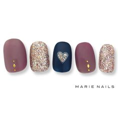 Golden nails glitter heart of the blue blackbird and pink pretty nail swag Gorgeous Nails, Love Nails, Pretty Nails, Golden Nails, Nail Art Kit, Japanese Nails, Nail Treatment, Swag Nails, Nails Inspiration