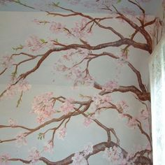 Mural of blossoming cherry tree by Puffin and mahler. Burford, Oxfordshire