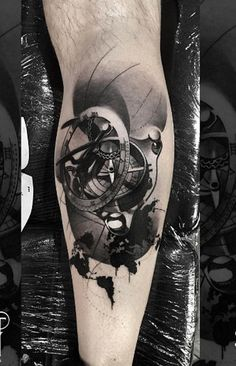 Compass calf tattoo for man - 100 Awesome Compass Tattoo Designs  <3 <3
