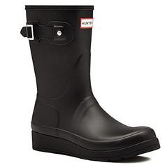 Womens Hunter Original Short Wedge Sole Galoshes Wellingtons Rain Boots  Black  6 ** This is an Amazon Affiliate link. Check this awesome product by going to the link at the image.