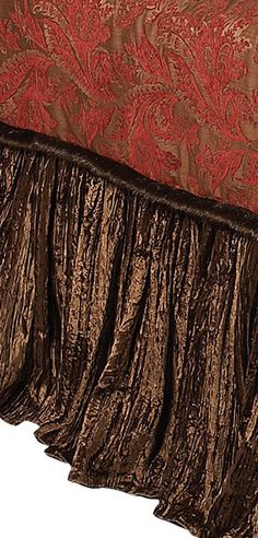 Old World Westbury II Bedding velvet skirt chocolate brown and deep red chenille duvet with luxurious bed pillows . http://reilly-chanceliving.com/collections/bedding/products/westbury-ii