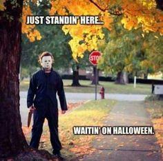 Waitin'on Halloween Halloween Quotes, Halloween Movies, Halloween Horror, Holidays Halloween, Spooky Halloween, Happy Halloween, Halloween Stuff, Spooky Memes, Halloween Ideas