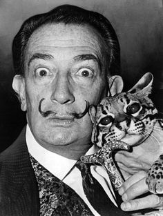 Salvador Dali and Babou the cat